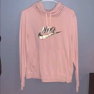 Nike Pink Hoodie Gold Swoosh